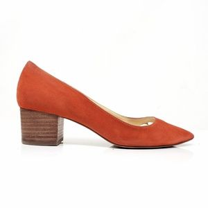 Sole Society Orange Suede Block Heels